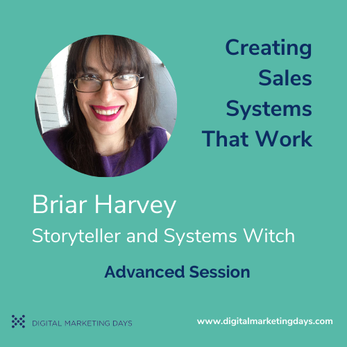 Briar Harvey, Storyteller and Systems Witch speaking in an advanced session for Digital Marketing Days event.