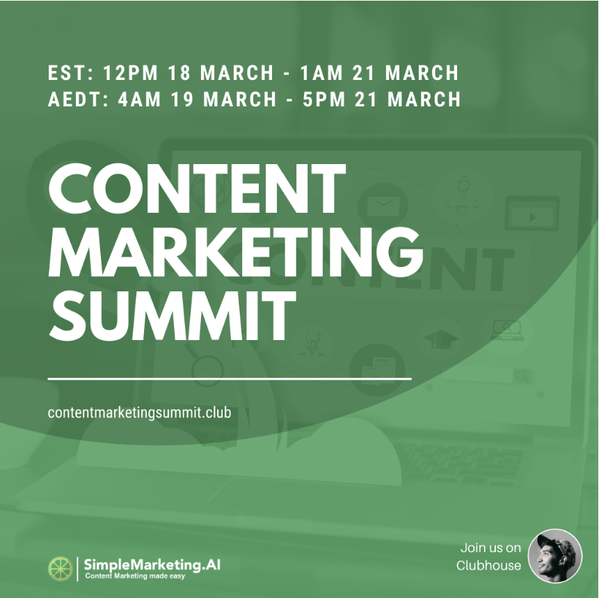 Content Marketing Summit March 2021 on Clubhouse